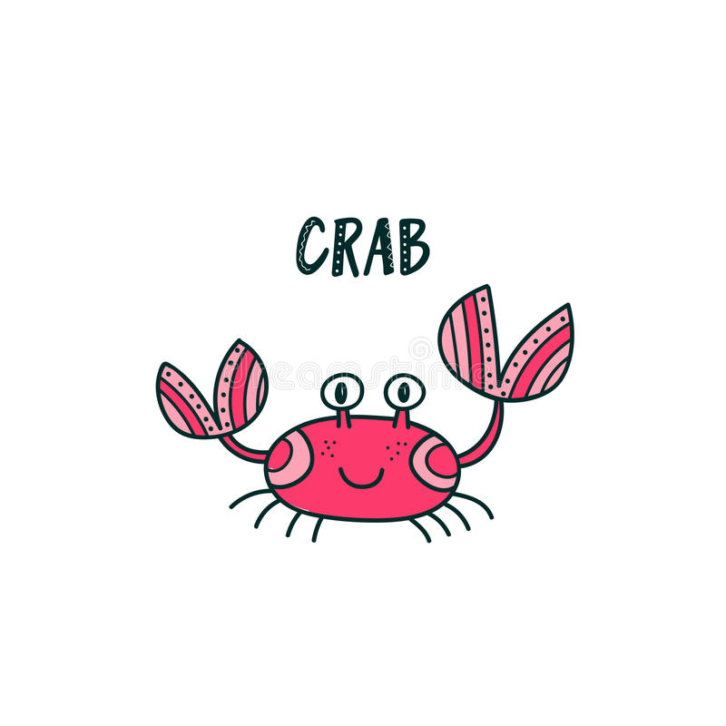 Illustration mignonne de crabe illustration stock