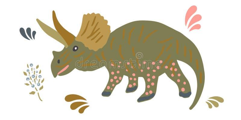 Illustration mignonne de dinosaure de Pachyrhinosaurus illustration stock