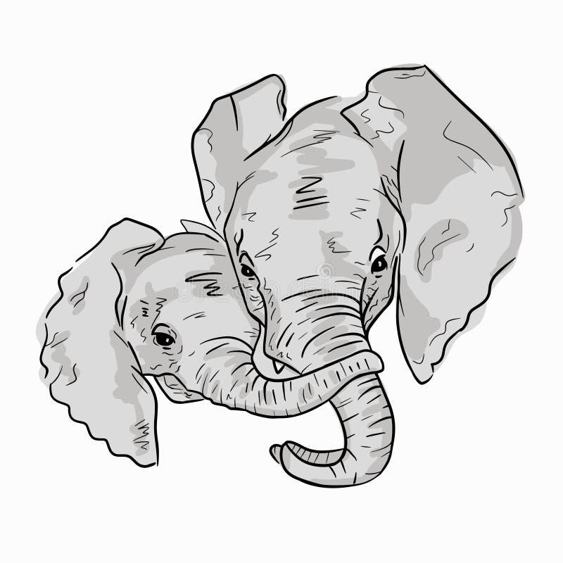 Illustration mignonne de famille d'éléphant sur le fond blanc Croquis de mère d'éléphant avec l'enfant illustration de vecteur
