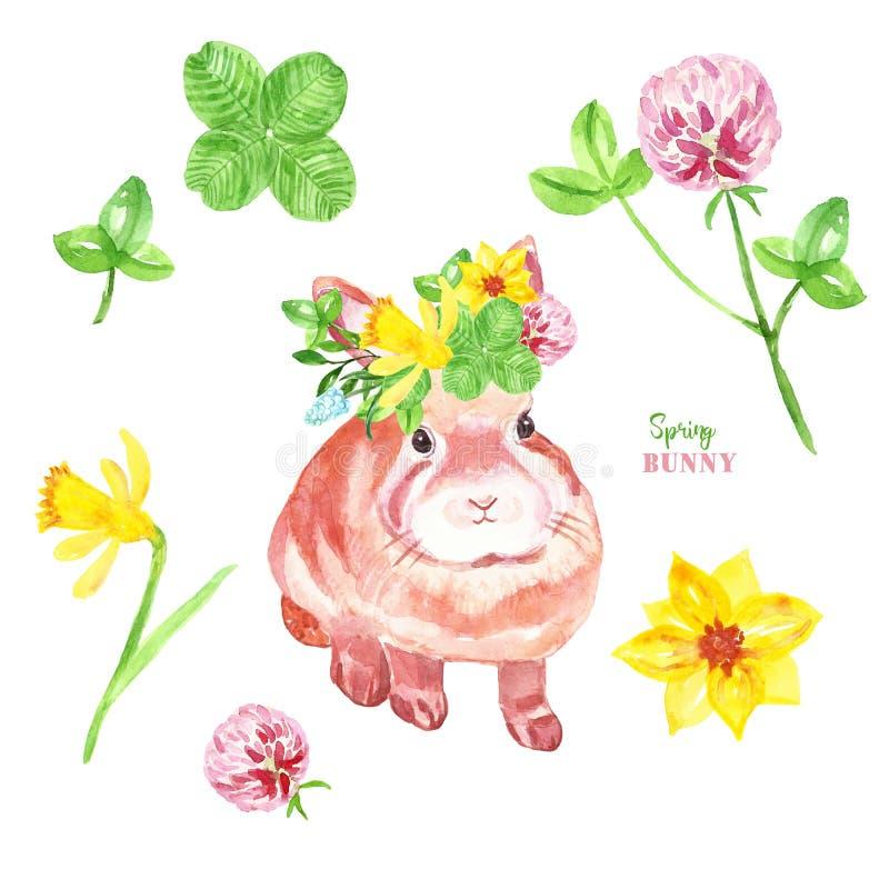 Illustration mignonne de lapin d'aquarelle Lapin peint à la main de bébé dans une couronne de fleur et un ensemble coloré de  illustration de vecteur