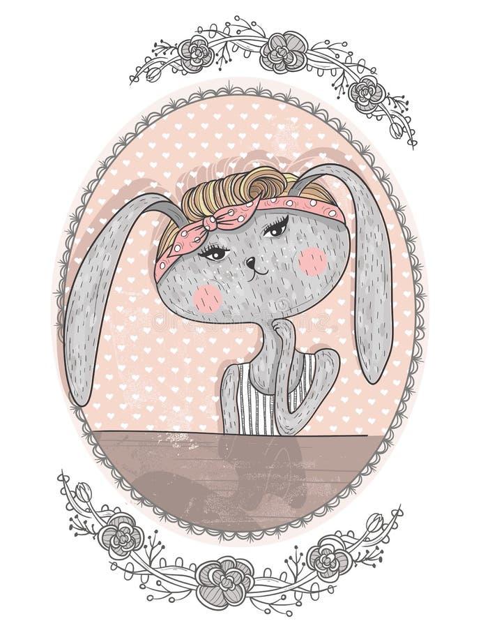 Illustration mignonne de lapin pour des enfants Lapin de hippie illustration libre de droits