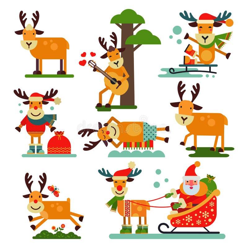 Illustration mignonne de nouvelle année de vecteur de caractère de Santa Claus de renne de Noël d'animal de cerfs communs pour le illustration de vecteur