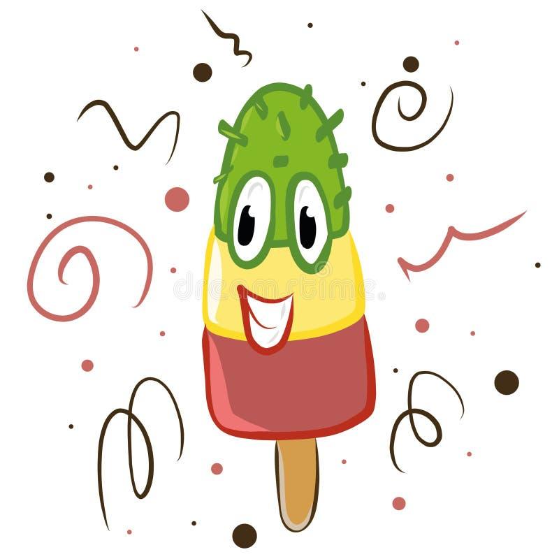 Illustration mignonne de sourire de vecteur de glace à l'eau fruitée de crème glacée d'été heureux de visage dans le style de ban illustration stock