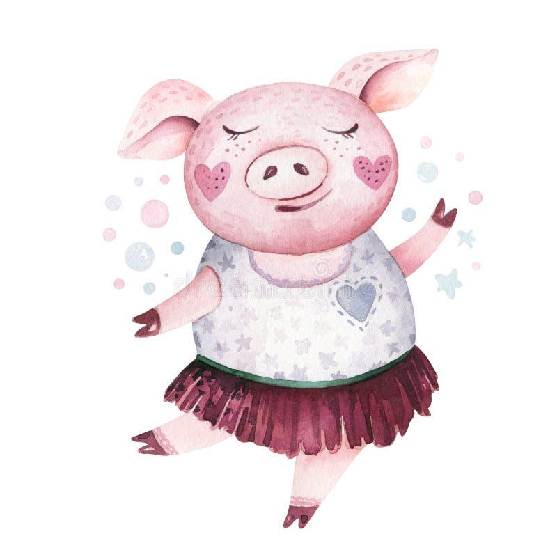 Illustration 2019 mignonne de symbole de porc d'aquarelle Art porcin chinois heureux animal d'isolement de nouvelle année de cing illustration libre de droits