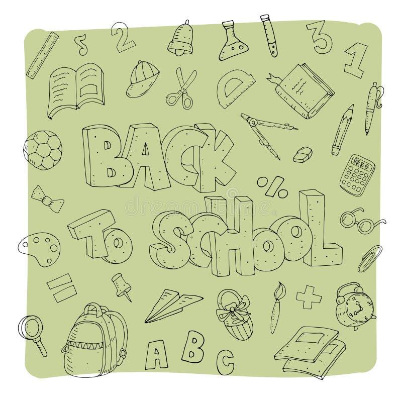 Illustration mignonne de vecteur avec l'ensemble d'école et inscription sur un fond neutre illustration stock