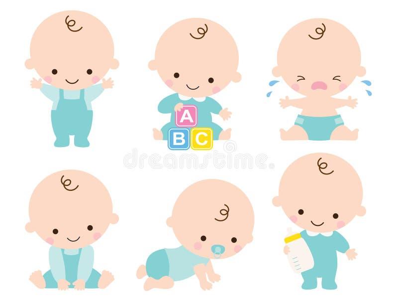Illustration mignonne de vecteur de bébé garçon illustration libre de droits