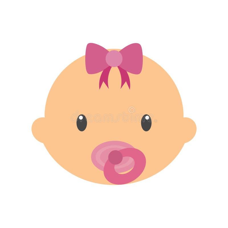 Illustration mignonne de vecteur de bébé, icône simple de visage de bébé illustration stock