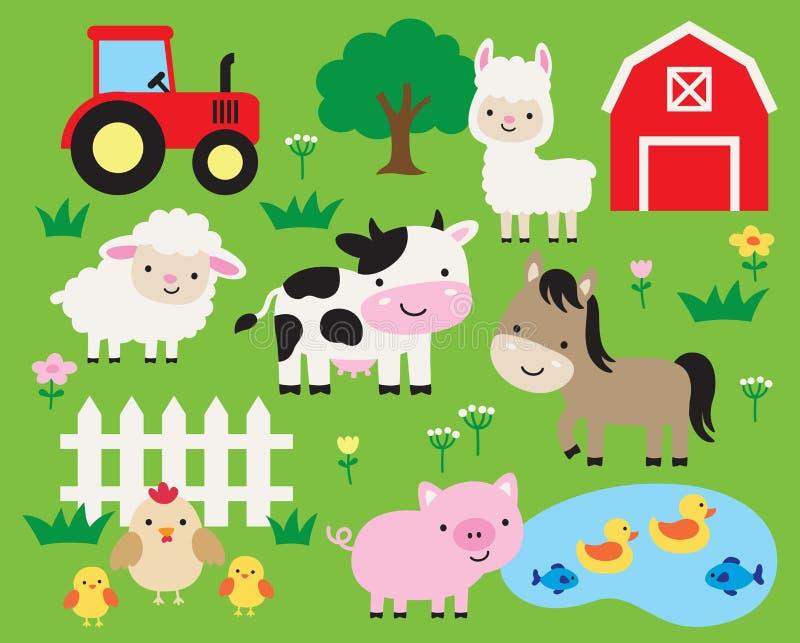 Illustration mignonne de vecteur de bande dessinée d'animal de ferme illustration stock