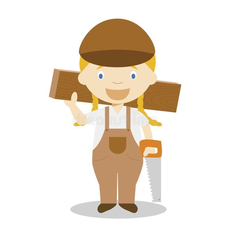 Illustration mignonne de vecteur de bande dessinée d'un charpentier Série de professions de femmes illustration de vecteur