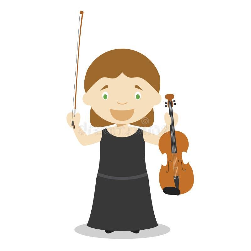 Illustration mignonne de vecteur de bande dessinée d'un musicien classique Série de professions de femmes illustration stock