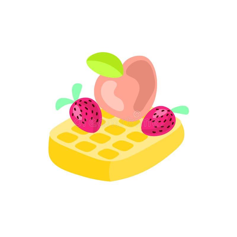 Illustration mignonne de vecteur de bande dessinée de gaufre belge avec la fraise et la pêche sur le dessus Icône de gaufre belge illustration de vecteur