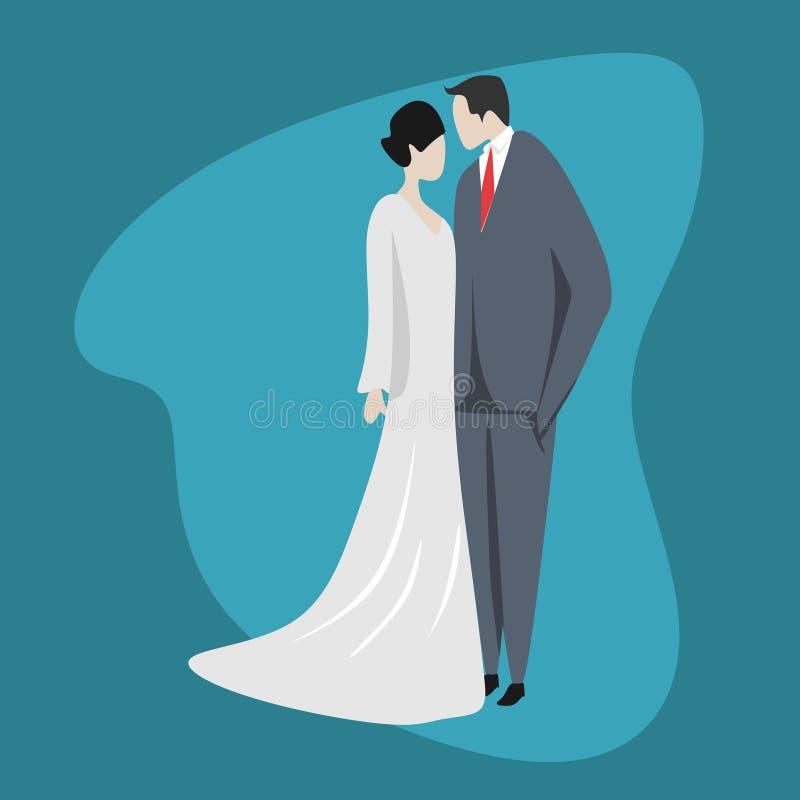 Illustration mignonne de vecteur de caractère de couples Épouser la robe romantique de style dans la conception plate de bande de illustration de vecteur