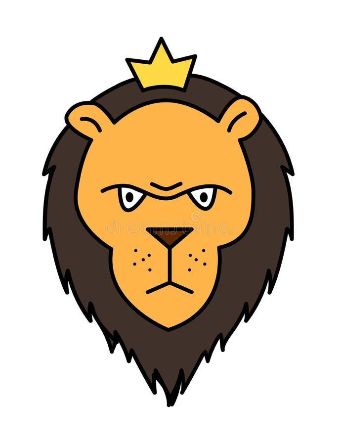 Illustration mignonne de vecteur d'un lion dans le style de bande dessinée illustration libre de droits