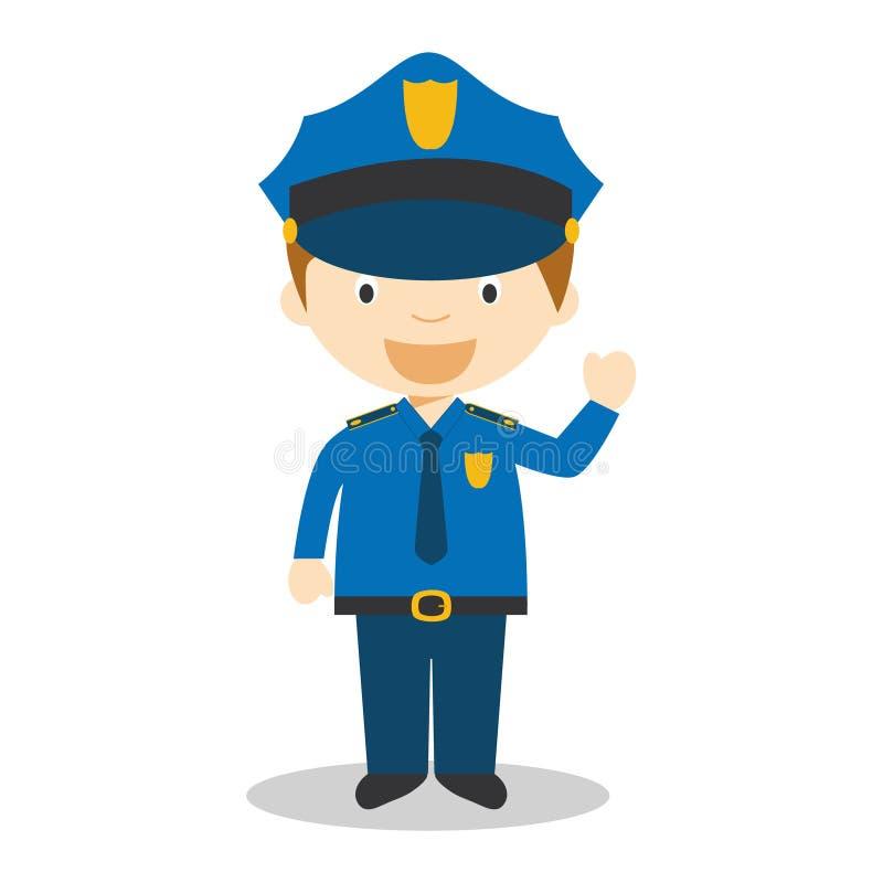 Illustration mignonne de vecteur de bande dessinée d'un policier illustration de vecteur