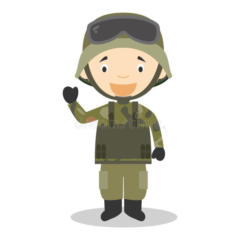 Illustration mignonne de vecteur de bande dessinée d'un soldat illustration de vecteur
