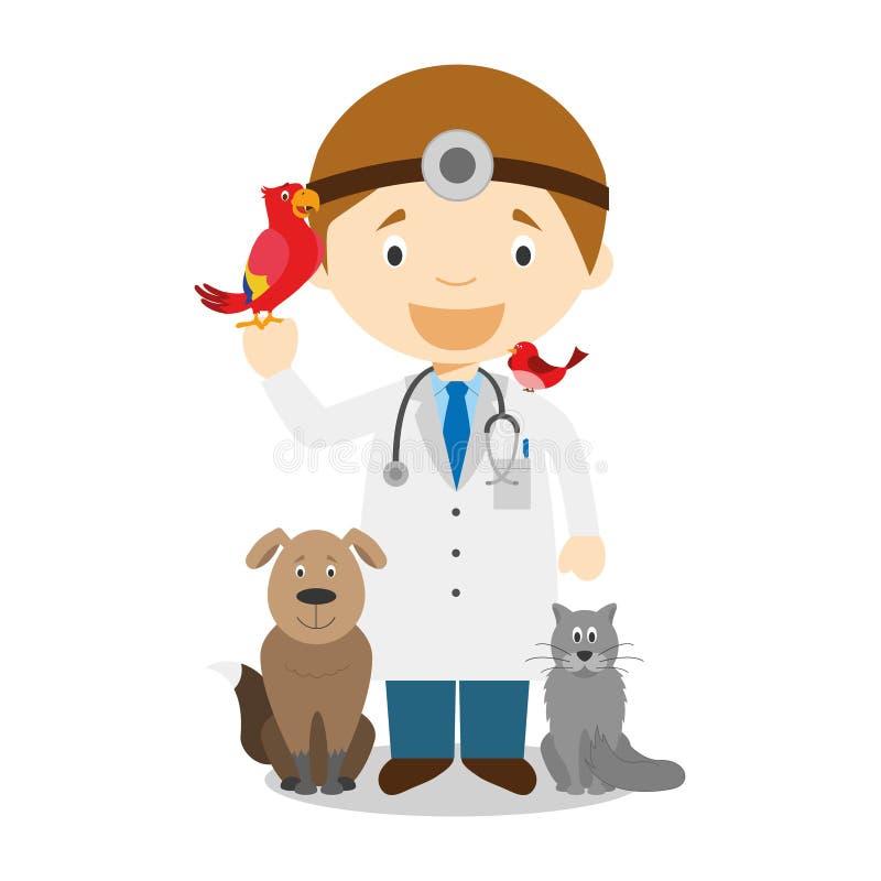 Illustration mignonne de vecteur de bande dessinée d'un vétérinaire illustration libre de droits