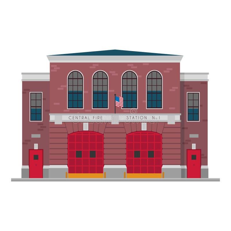 Illustration mignonne de vecteur de bande dessinée d'une caserne de pompiers illustration stock