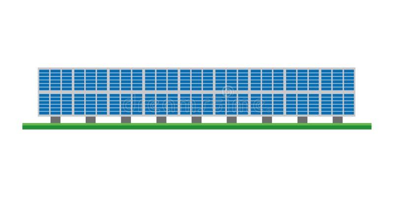 Illustration mignonne de vecteur de bande dessinée d'une centrale photovoltaïque solaire illustration libre de droits