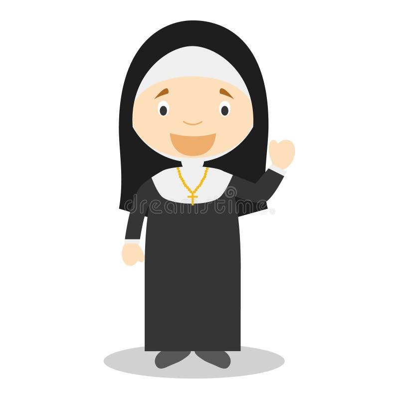 Illustration mignonne de vecteur de bande dessinée d'une nonne illustration libre de droits