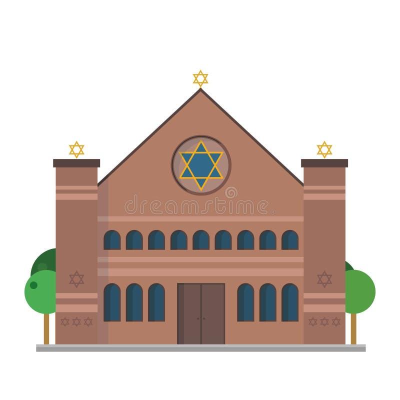 Illustration mignonne de vecteur de bande dessinée d'une synagogue illustration stock