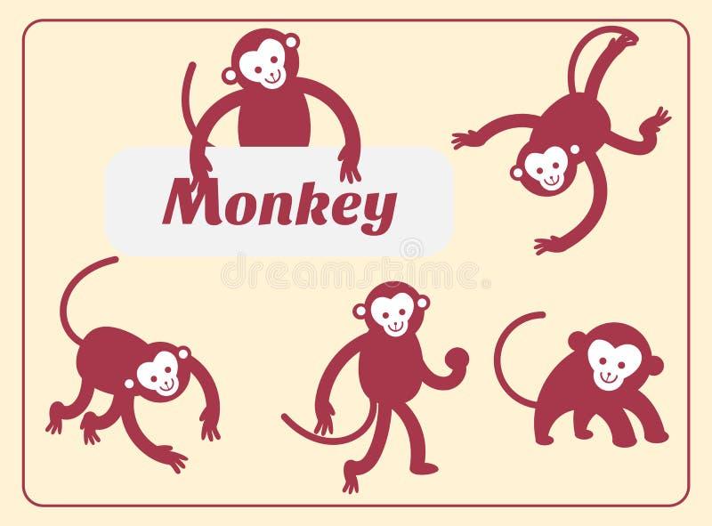 Illustration mignonne de vecteur de bande dessinée de singe illustration libre de droits