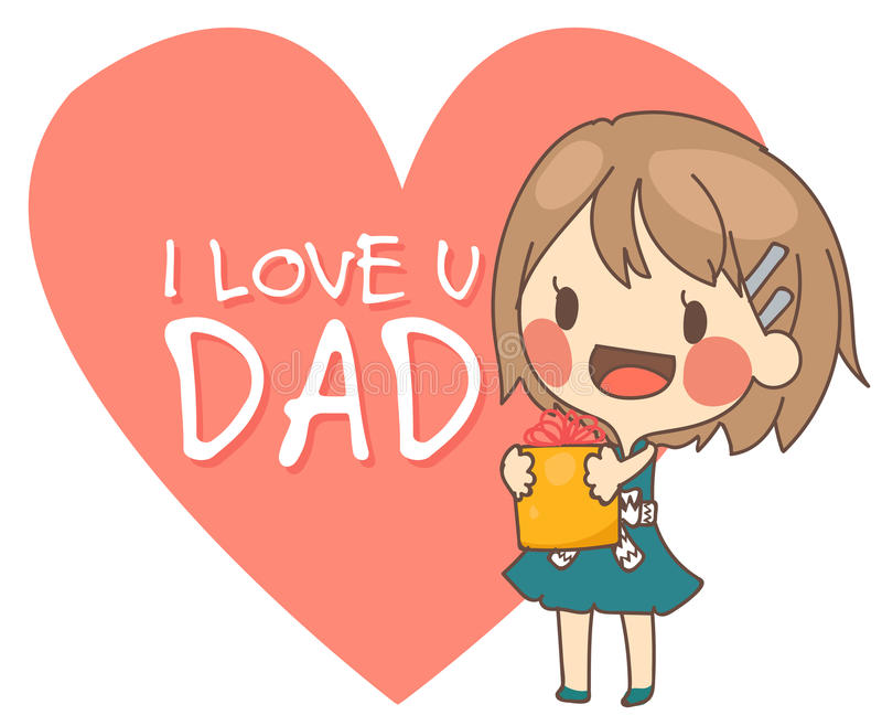 illustration mignonne de vecteur de carte de papa de présent de fille je t'aime illustration stock