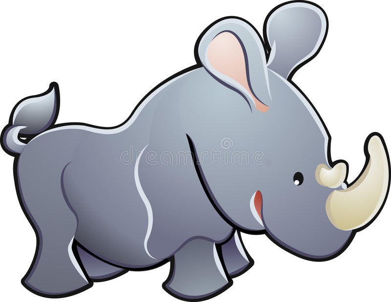 Illustration mignonne de vecteur de rhinocéros illustration stock
