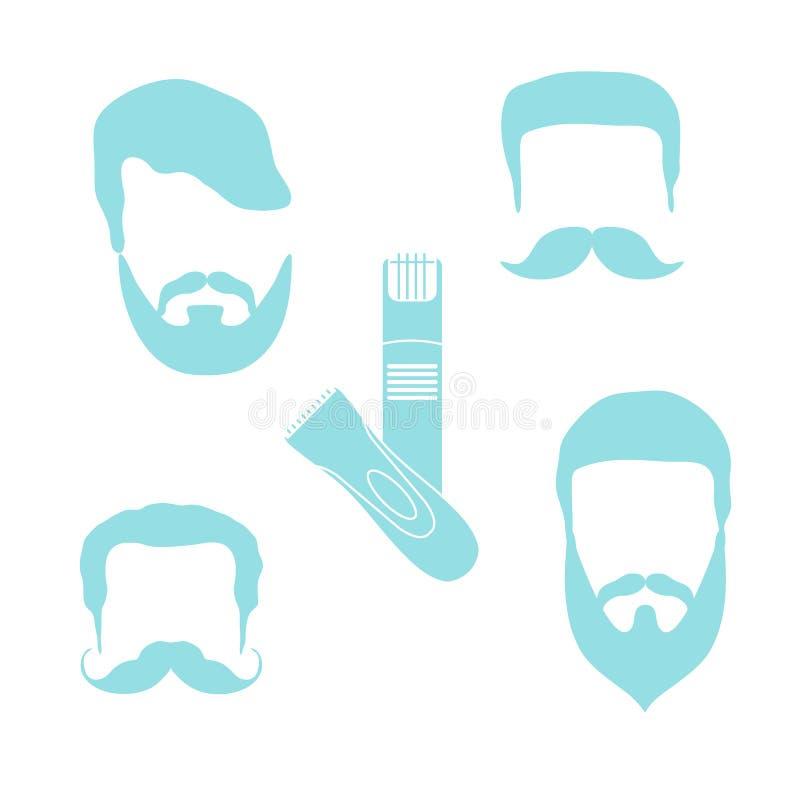 Illustration mignonne de vecteur des coiffures des hommes, barbes, moustaches, t images libres de droits