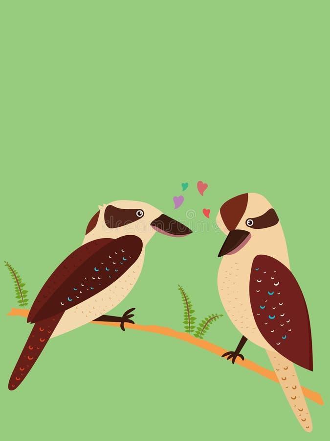 Illustration mignonne de vecteur des oiseaux romantiques d'amour, martins-pêcheur dedans illustration de vecteur