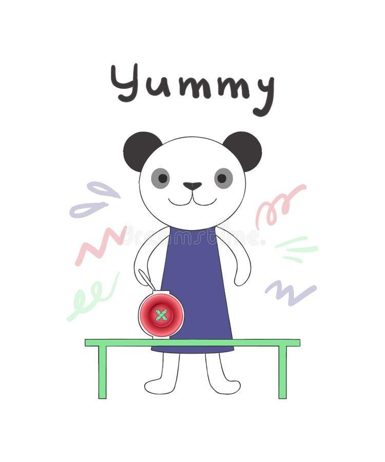 Illustration mignonne de vecteur, panda dans le style linéaire de bande dessinée avec le détail rose réaliste de pot de bouton illustration stock
