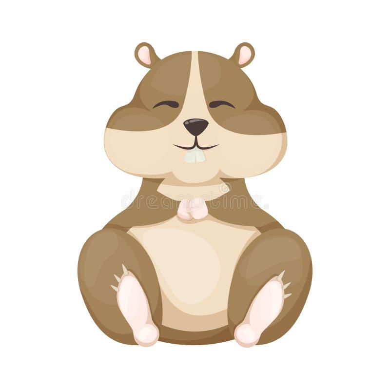 Illustration mignonne de vecteur de rongeur de caractère d'animal familier de bande dessinée de hamster illustration de vecteur