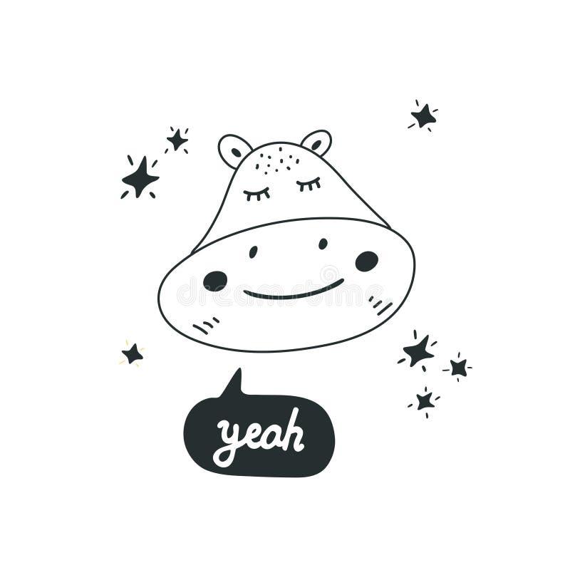 Illustration mignonne de vecteur de tête d'hippopotame Élément de conception, clipart moderne de style illustration stock