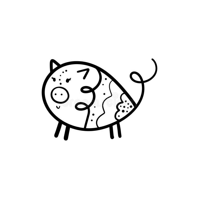 Illustration mignonne drôle tirée par la main de fille de porc de vecteur illustration libre de droits
