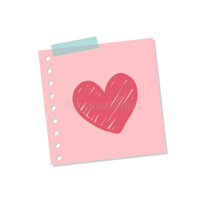 Illustration mignonne et douce de note d'amour illustration stock
