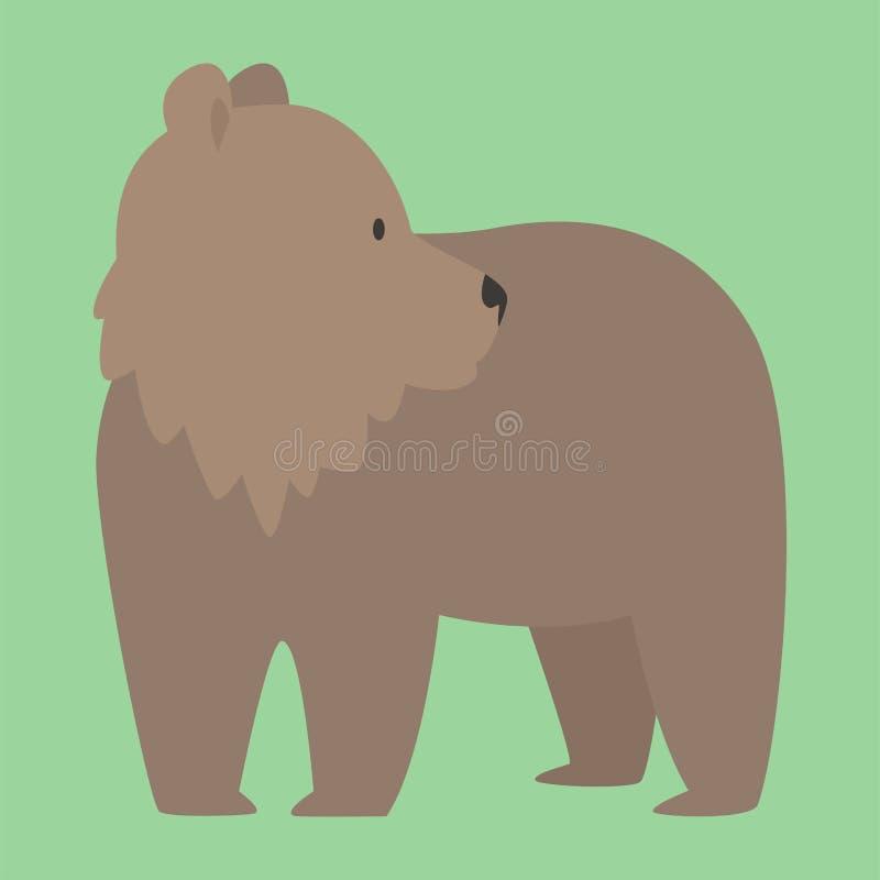 Illustration mignonne prédatrice de caractère de bande dessinée animale heureuse drôle de vecteur d'ours de Brown illustration de vecteur