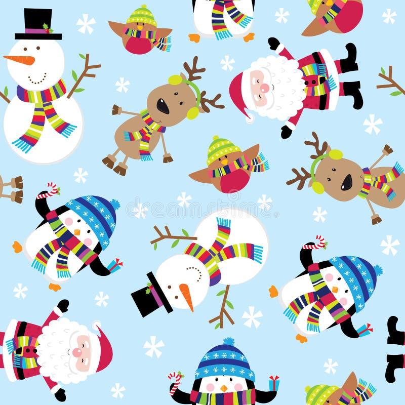 Illustration mignonne sans couture de Santa et d'amis illustration de vecteur