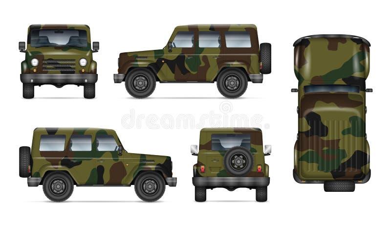 Illustration militaire réaliste de vecteur de camion illustration libre de droits