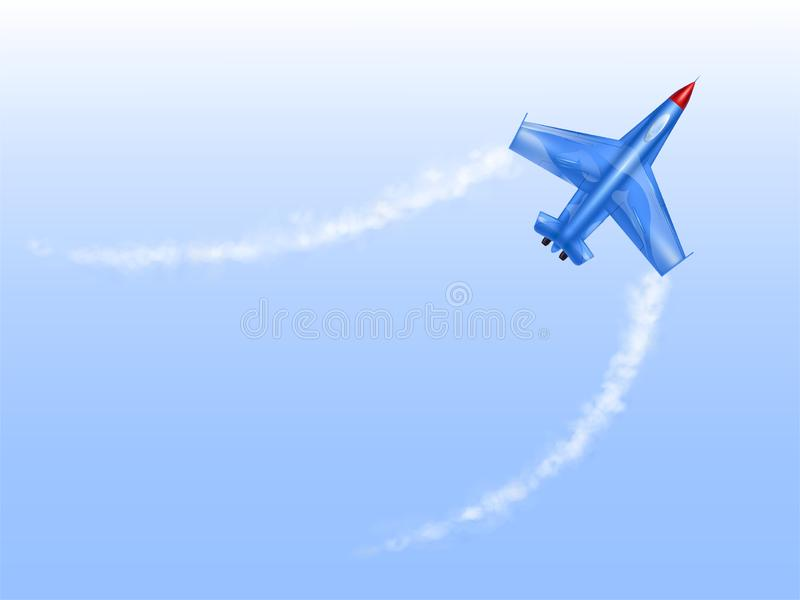 Illustration of military aircraft in curve, fighter jet in spin. Plane in figured flight, aviation in flat style. Illustration of military aircraft in curve vector illustration