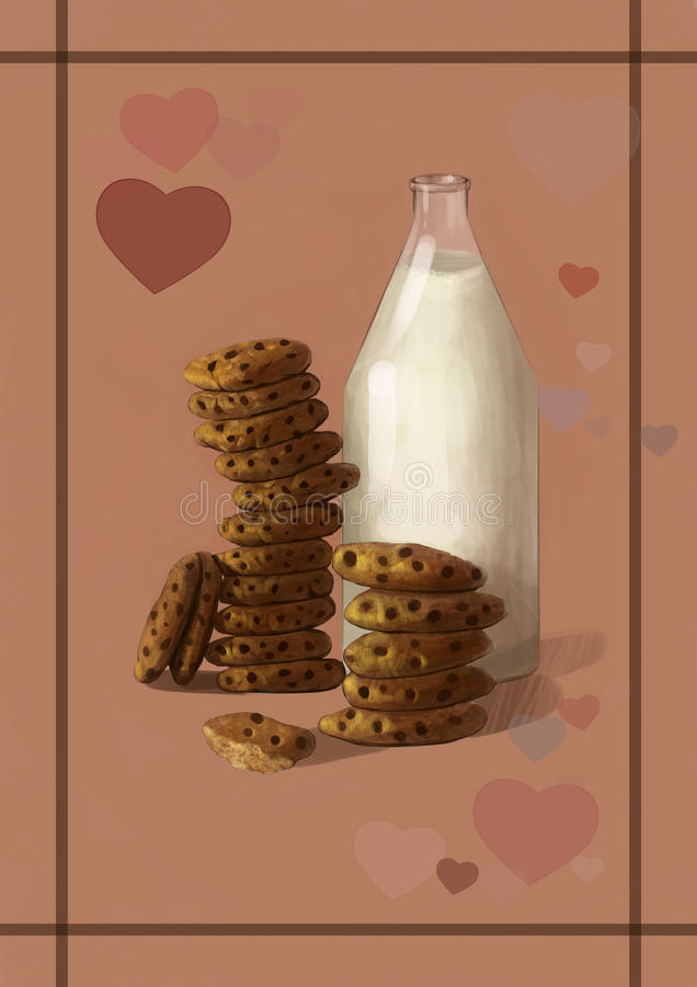 Illustration of milk and cookies - the best sweet, tasty breakfast combination.