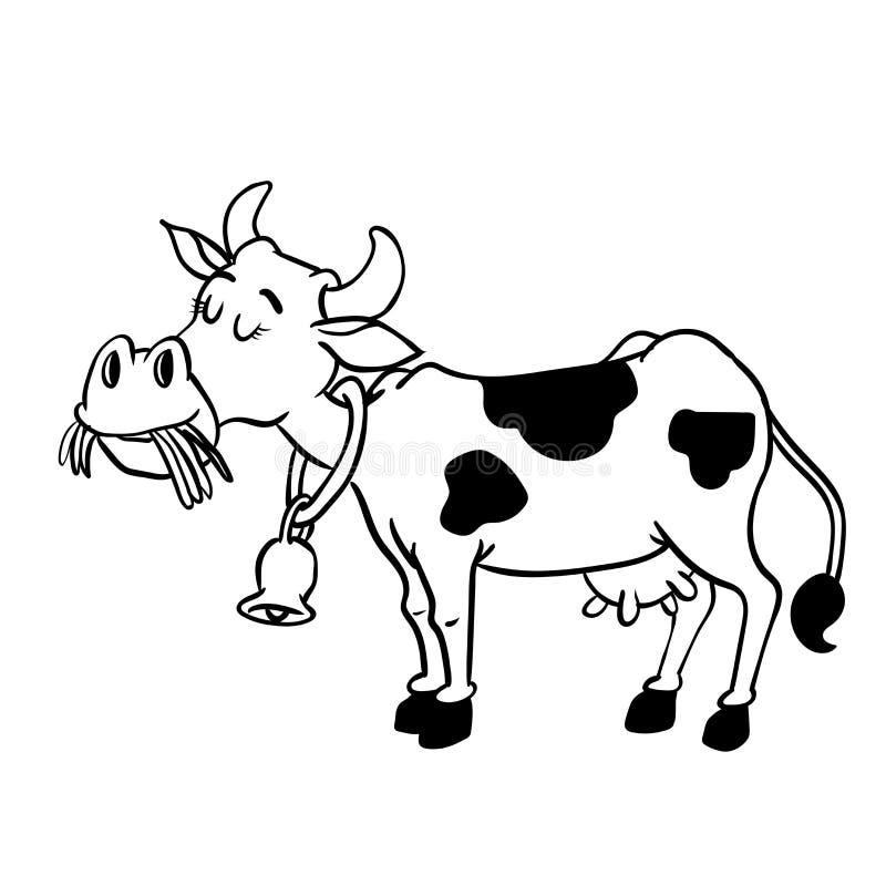 Illustration of Milk Cow Cartoon - Vector Hand drawn vector illustration