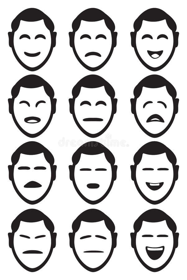 Illustration minimaliste de vecteur d'expression du visage d'homme de bande dessinée illustration libre de droits