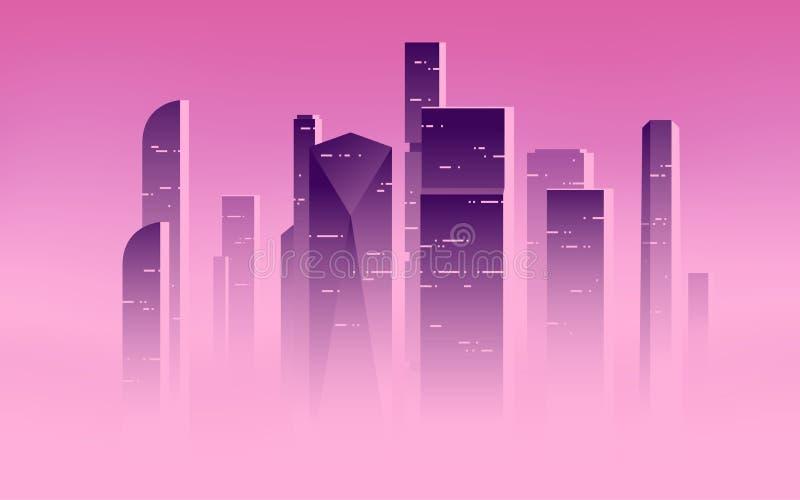 Illustration minimaliste de vecteur de gratte-ciel au-dessus des nuages, highrises de ville dans un brouillard brumeux illustration stock