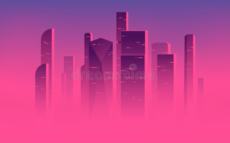 Illustration minimaliste de vecteur de gratte-ciel au-dessus des nuages, highrises de ville dans un brouillard brumeux illustration libre de droits