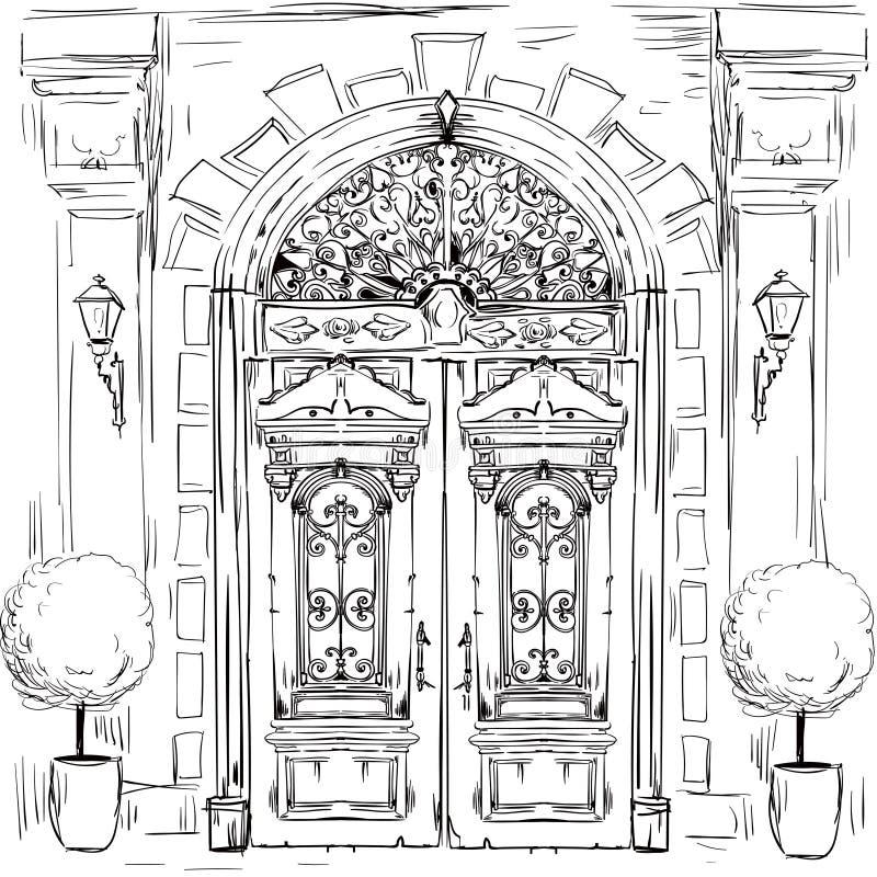 Illustration mit alten Türen lizenzfreie abbildung