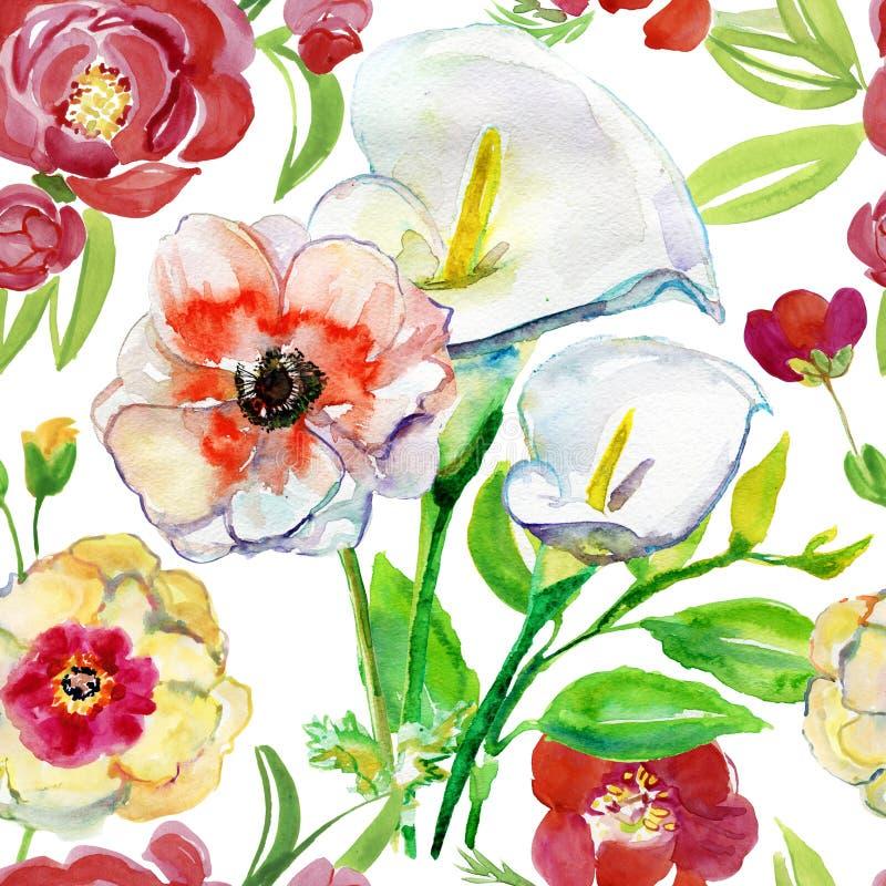 Illustration mit Aquarellblumen Schöner nahtloser Hintergrund stock abbildung