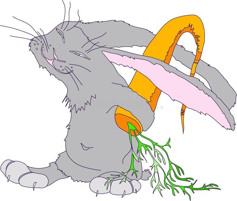 Illustration mit dem Bild eines grauen Kaninchens, das hinter seiner hinteren großen Karotte sich versteckt zeichen Vektor stock abbildung