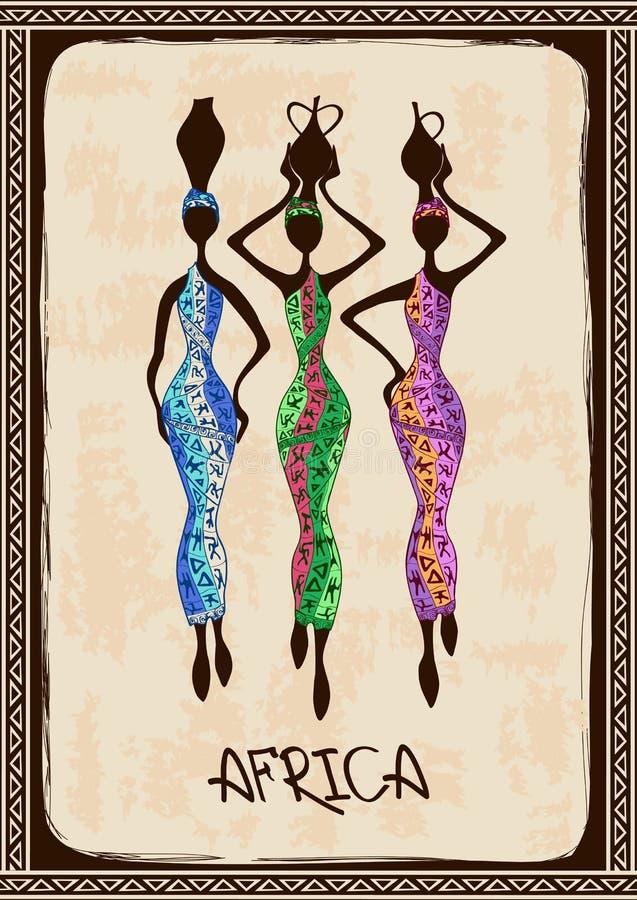 Illustration mit drei schönen Afrikanerinnen lizenzfreie abbildung