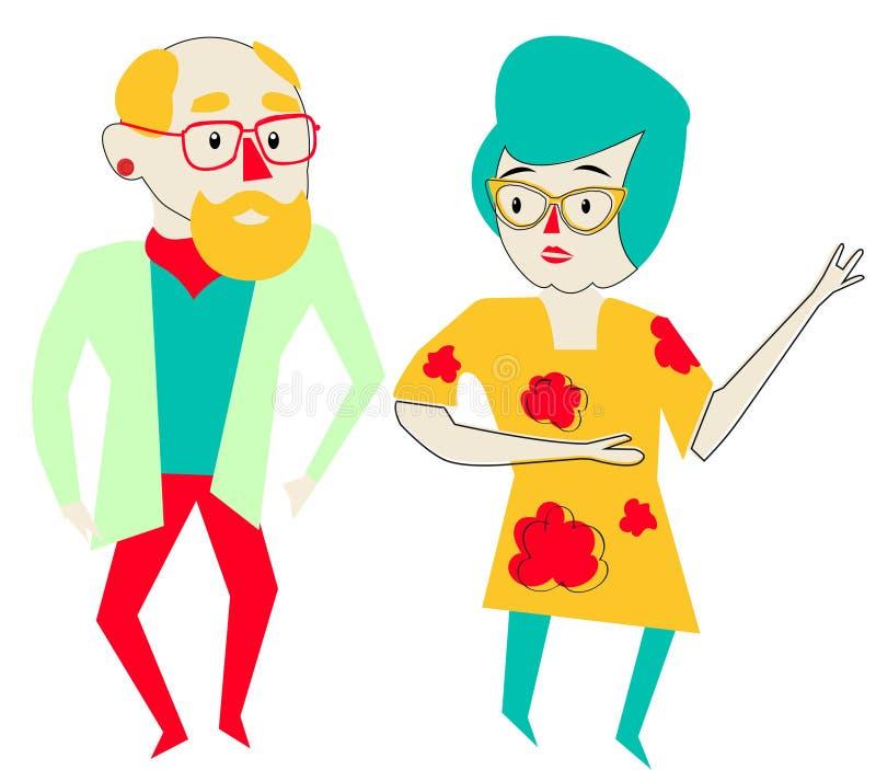 Illustration mit einer Oma, Großmutter in den gelben Gläsern und einem Kleid vektor abbildung