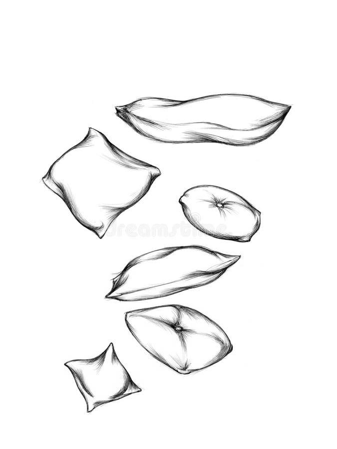 Illustration mit einigen fliegenden Kissen lizenzfreie abbildung