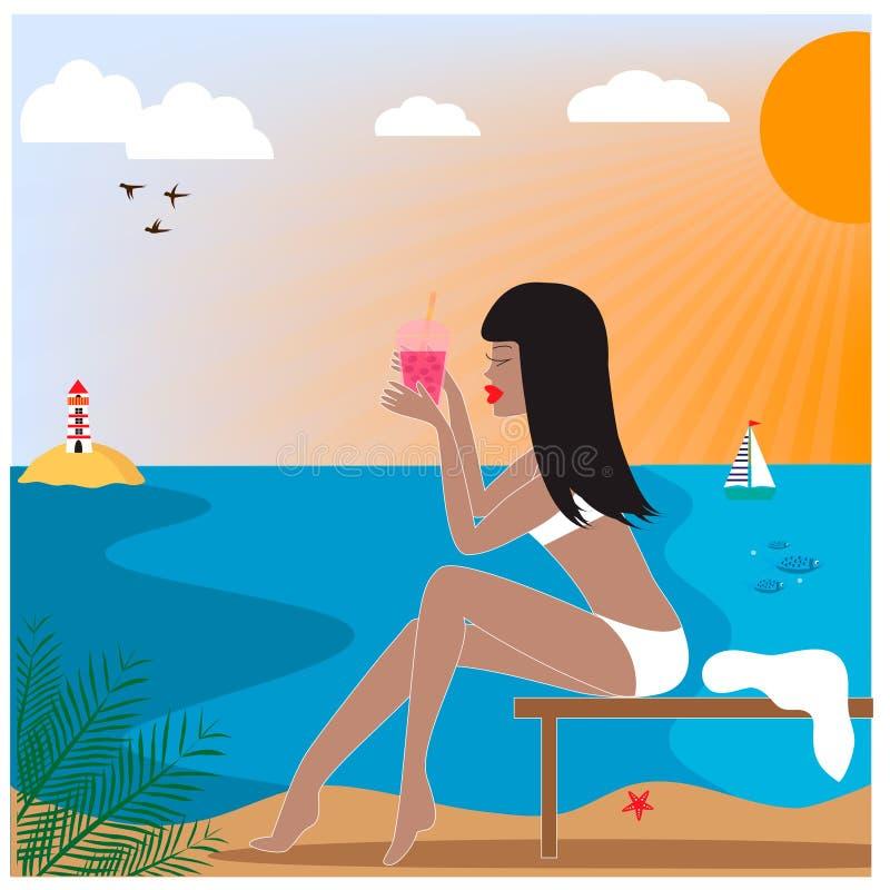 Illustration mit Frau mit dem Getränk, das auf dem Strand sitzt vektor abbildung